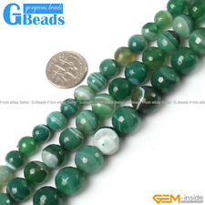 Natural Green Stripe Agate Onyx Gemstone Faceted Round Beads Free Shipping 15""