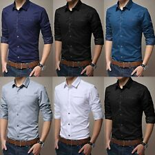 Fashion Mens Luxury Stylish Comfortable Casual Long Sleeve Slim Fit Dress Shirts
