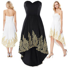 High Low Applique Women Evening Party Prom Gown Formal Bridesmaid Cocktail Dress