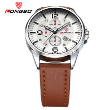 LONGBO Men Sports Leather Quartz Watches Analog Date Calendar Wrist Watch 80220