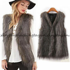 Lady Faux Fur Winter Vest Sleeveless Outerwear Coat Casual Waistcoat Warm Jacket