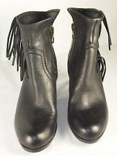 SAM EDELMAN Louie Fringed Booties Leather Black  Sz 7 Reg$148.00