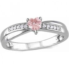 1/4 Carat T.G.W. Morganite and Diamond Accent Sterling Silver Heart Ring. Delive