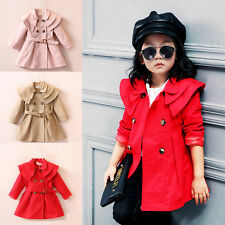 Girls Kids Double Breasted Trench Coat Wind Jacket Autumn Winter Outwear Age 3-7