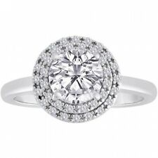 Sterling Silver CZ Brilliant Double Halo Engagement Ring. Huge Saving