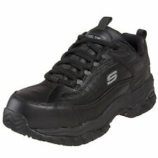 Skechers SOFT STRIDE Mens Black STEEL TOE Slip Resistant Work Shoes