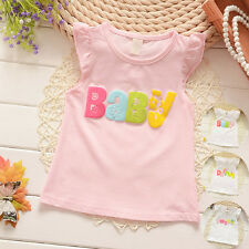 Baby Girls Toddler Kids Summer Sleeveless Cotton Tops Blouse Tee Vest T-shirts