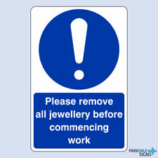 Please Remove All Jewellery Before Commencing Work Catering Sign