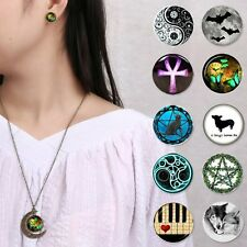 Retro Moon Cabochon Glass Pendant Glow in the Dark Charm Necklace Jewellery Set