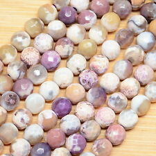 "15 1/8"" PURPLE AGATE GEMSTONE FACETED ROUND BEADS STRAND(1 STRAND) 6MM"