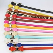Sweet Girl Lady Bowknot Faux Leather Narrow Waist Belt Waistband Elastic Buckle