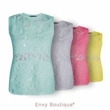 WOMENS LADIES 3D LACE FLORAL CROCHET SLEEVELESS CHIFFON CASUAL VEST TOP 8-14