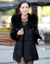 Women Hooded Faux Fur Coat Winter Parka Lady Black Jacket Outwear Warm Overcoat