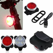 Rechargeable Cycling Bicycle Bike 3 LED 4 Modes Head Front Rear Tail light USB M