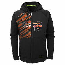 Reebok Philadelphia Flyers Youth Black TNT PlayDry Full Zip Hoodie
