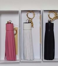 Michael Kors Genuine Leather Tassel Black, Pink, White Key Chain Purse Charm NWT
