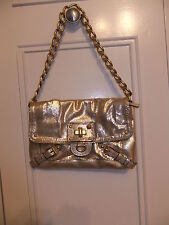 Juicy Couture Gold Lame, Leather  Baguette/Shoulder Bag with Chain Strap