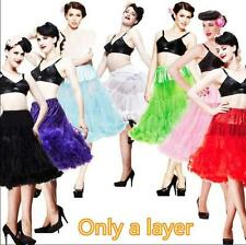 Woman One Layer Long Rockabilly Petticoat Vintage Pettiskirt Tutu Tulle Skirt