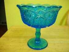 VINTAGE BLUE CUT GLASS HEAVY WEIGHT DECORATIVE CANDY DISH