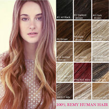 Clip In Remy Human Hair Extensions 100% Real Hair Top 15''  7pcs Set Full Head