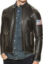 Mens Biker Vintage Distressed Brown Cowhide Real Leather Jacket