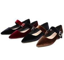 New Import Velvet Comfort Flat Heel Ankle Strap Pointy Lady's Shoes AU Size s494
