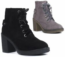 WOMENS LADIES MID BLOCK HEEL CHUNKY LACE UP PLATFORM BIKER CHELSEA ANKLE BOOTS