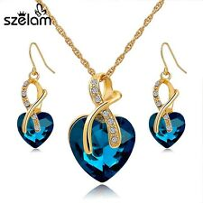 Gold Plated Crystal Heart Necklace Earring Jewelry Set For Women