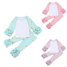 Baby Girls Kids Icing Ruffle Top Pants Outfit Toddler New Stars T-shirt Trousers
