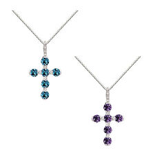 Sterling Silver Amethyst or Blue Topaz Cross Pendant Necklace