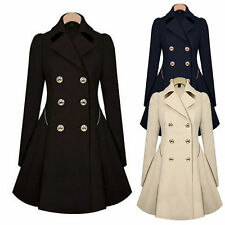 Womens Slim Trench Long Jacket Double Breasted Trench Coat Overcoat Outwear