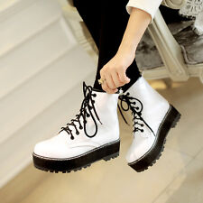 Womens Flat Creeper Platform Military Punk Roma Lace Up Ankle Boot Shoes Plus Sz