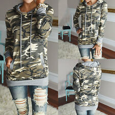 Women Fashion T Shirt Camouflage Hooded Outwear Tee Sweater Top Pullover