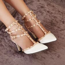 Women's High Heels Stilettos Ankle Strappy Buckle Rivets Pumps Pointed Toe Shoes