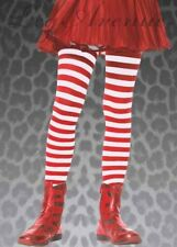 Childrens Red and White Striped Tights