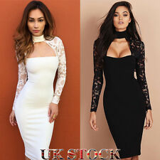 Womens Lace Long Sleeve Choker Dress Ladies Formal Cocktail Party Bodycon Dress