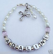 Girls-Baby-Child-Name-Personalized-Birthstone-Cross-Charm-bracelet-Made-to-Order