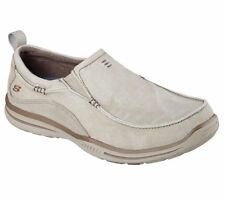 64654 Stone Skechers Shoes Men New Memory Foam Sport Casual Canvas Slipon Loafer