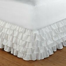 White Multi Ruffles Old Fashion Classic Flair Bedskirt King Queen Free Shipping
