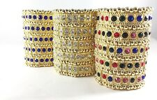 5 ROW CRYSTAL DIAMANTE RHINESTONE CUFF BRACELET STRETCH BRIDAL WEDDING