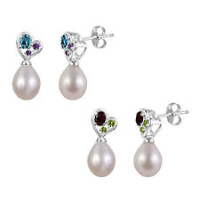 Sterling Silver 925 Gemstone and Freshwater Cultured Pearl Tear Drop Earring