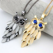 1pc Opal Owl Crystal Rhinestone Pendant Necklace Long Sweater Chain 70cm/27inch