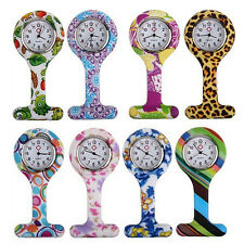 Patterned Silicone Nurses Brooch Tunic Fob Pocket Watch Stainless Dial Voguish