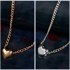Women Fashion Lovely Gift Tiny Little Heart Love Gold Silver Pendant Necklace BE