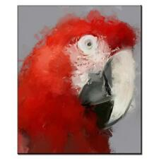 Red Parrot Wall Decor Modern Animal Canvas Print Abstract Giclee Fine Art Print
