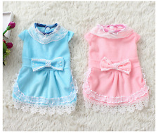Dog Cat Clothes Pet Lace Pearl bow-knot Dress Puppy Warm Apparel For Small Dog