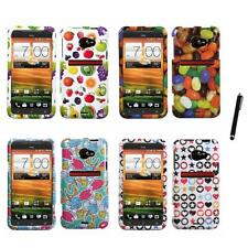 For HTC EVO 4G LTE Design Snap-On Hard Case Phone Cover Stylus Pen