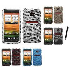 For HTC EVO 4G LTE Diamond Diamante Bling Rhinestone Case Cover Stylus Pen