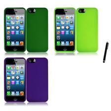 For Apple iPhone 5 Rubberized Matte Snap-On Hard Case Phone Cover Stylus Pen