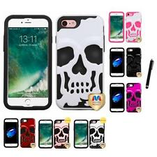 For Apple iPhone 7 [4.7] Hybrid Skull Skeleton Impact Hard Soft Case Stylus Pen